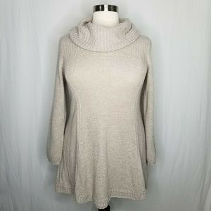 Style & Co Sweaters - Style & Co Oatmeal Cowl Neck Tunic Knit Sweater